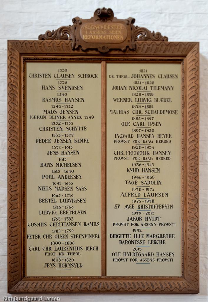 Præstetavle Assens Vor Frue Kirke